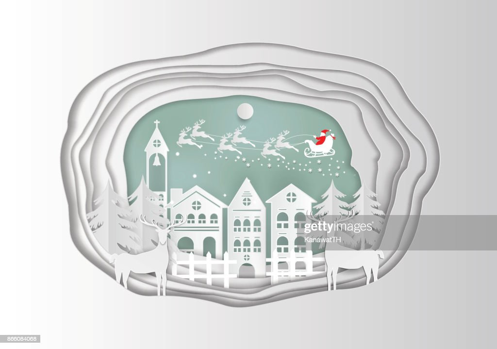 Paper art carving of winter holiday snow in town background with santa, deer and tree, vector illustration