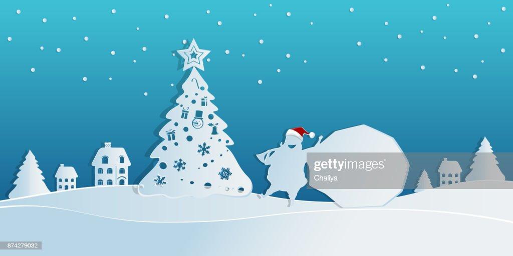 Papierkunstkonzept Von Weihnachten Mit Dem Weihnachtsmann Trägt Eine ...