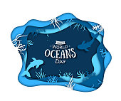 Paper art concept of World Oceans Day. The celebration dedicated to help protect, and conserve world oceans, water, ecosystem.