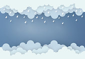 Paper art design style the concept is rainy season, Cloud and rain on dark background , vector design element illustration