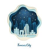 Paper art illustration of Kansas City. Origami concept. Night city with stars. Vector illustration.