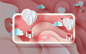 3D Paper art of Air white balloons gift floating on Abstract Curve shape pink sky background,valentine season concept. smartphone shopping online for festival holiday pastel color,vector. illustration