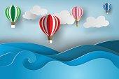 paper art of ballon on sea view,vector,summer
