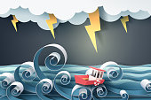 Paper art of boat against crazy sea and thunderbolt in storm
