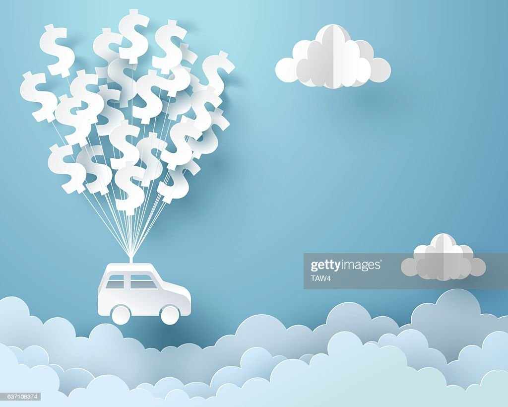 Paper art of car hanging with dollar sign balloon