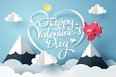 Paper art of happy valentine's day calligraphy and lettering