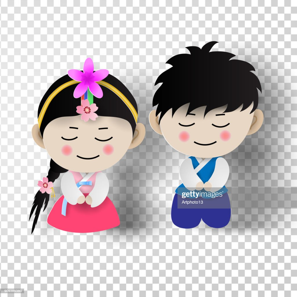 Paper art of Korean traditional  boy and girl in korean costume  on transparent background. vector illustration