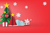 Paper art of Merry christmas sky background.vector,red,sweet,illustration design