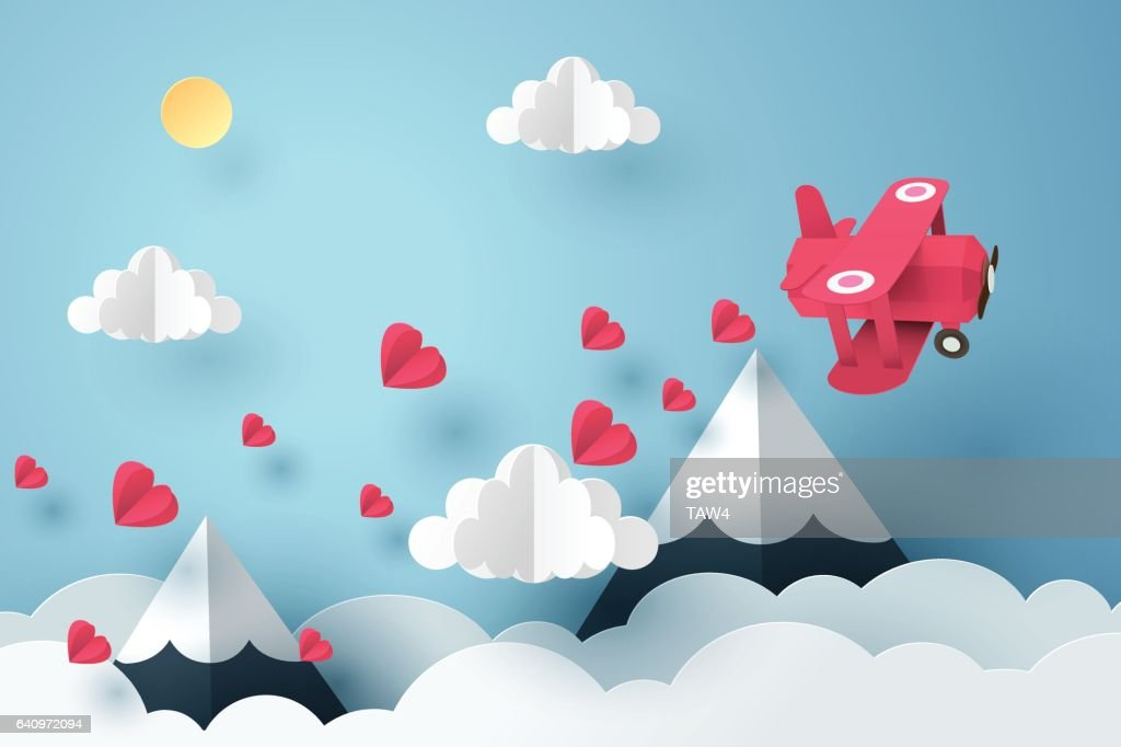 Paper art of pink plane flying and scatter heart
