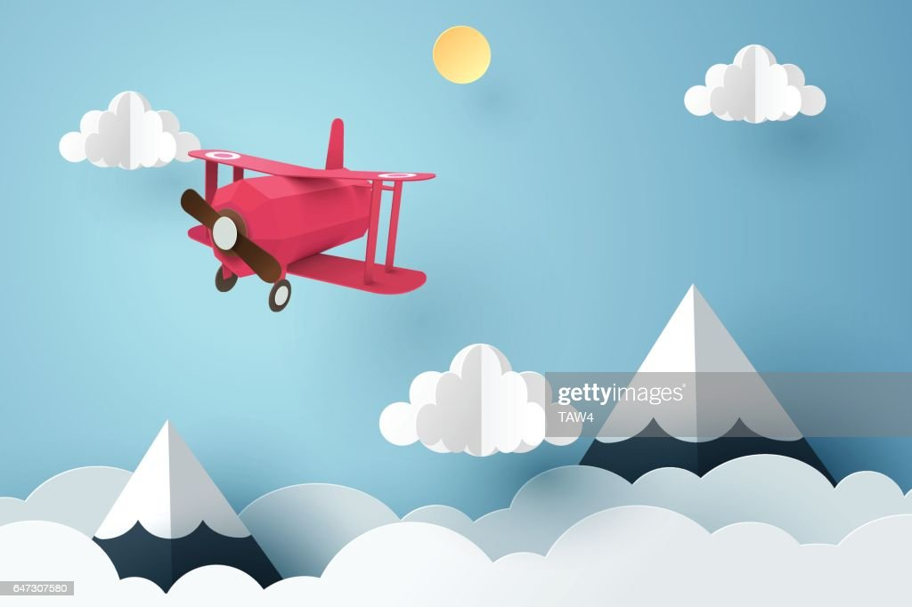 Paper art of pink plane flying in the sky, origami and travel day concept