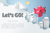 Paper art of red air plane flying out from cloud with let's go text and copy space, Origami idea and start up or adventure concept