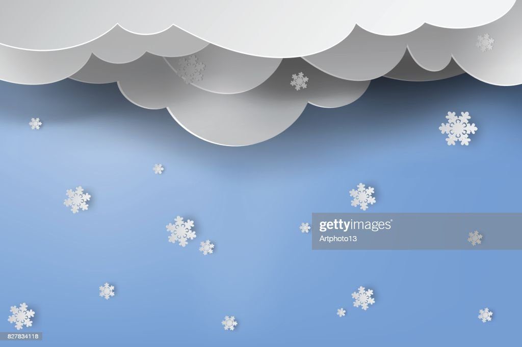 Paper art of snow with winter season blue sky background,vector