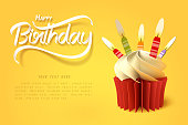 Paper art of the cup of cake and happy birthday calligraphy hand lettering