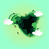Paper art of Top view of green forest canopy background.