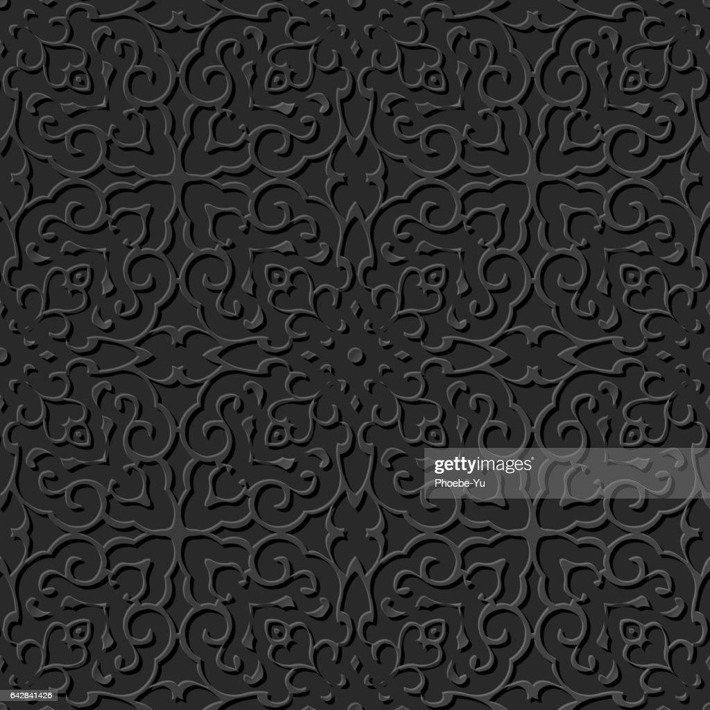3D paper art pattern spiral curve cross kaleidoscope frame