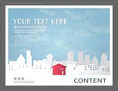 Paper art style for presentation layout design template, City buildings and commercial real estate concept.