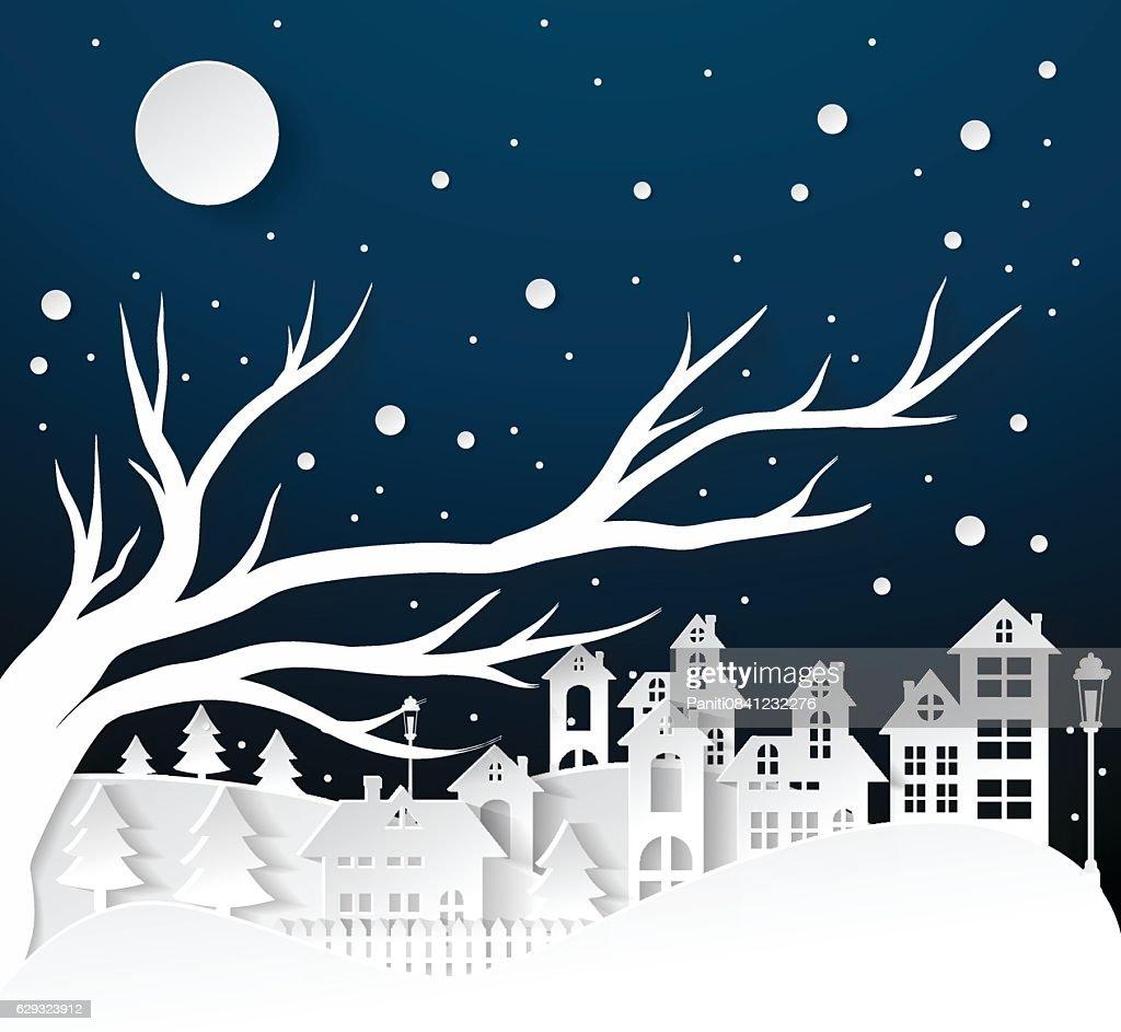 paper art Winter Snow Urban Countryside Landscape