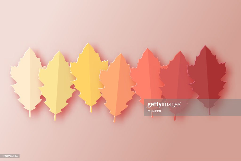Paper autumn leaves colorful background. Trendy 3d paper cut style vector illustration