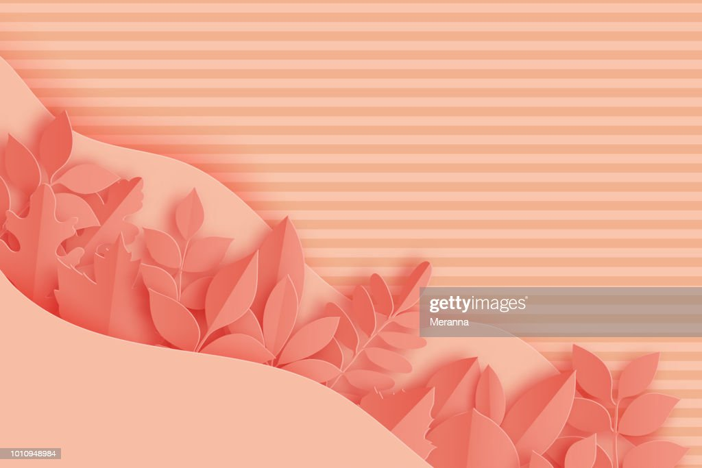 Paper autumn maple, oak and other leaves and waves pastel colored background. Trendy origami paper cut style vector illustration