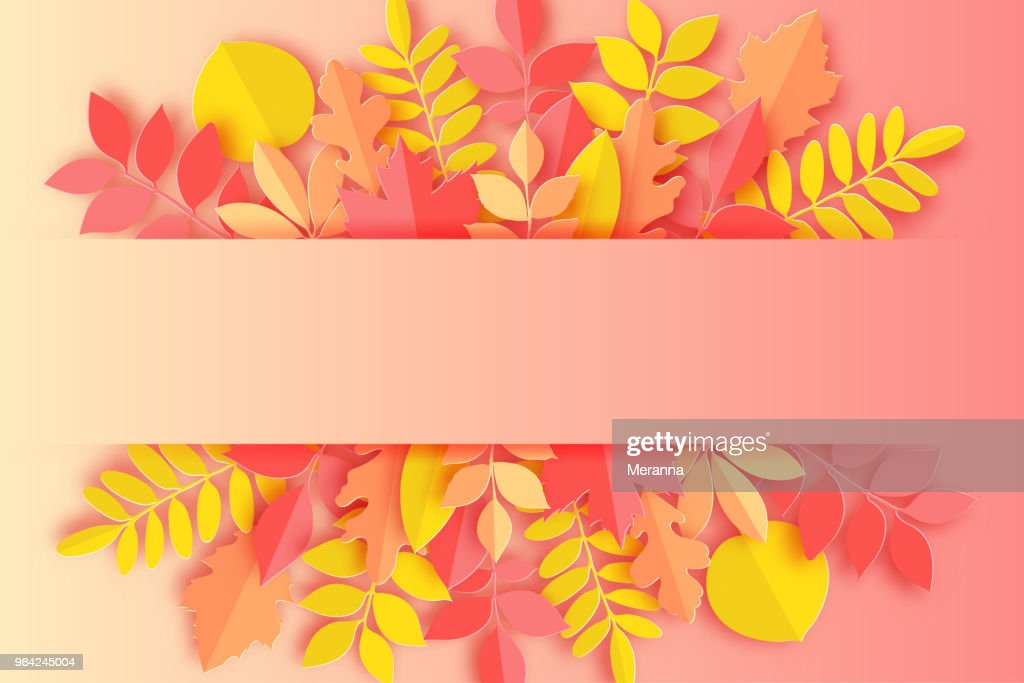 Paper autumn maple, oak and other leaves pastel colored background. Trendy origami paper cut style