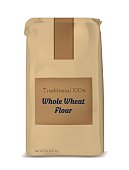 Paper bag for flour. Vector brown soft packing.