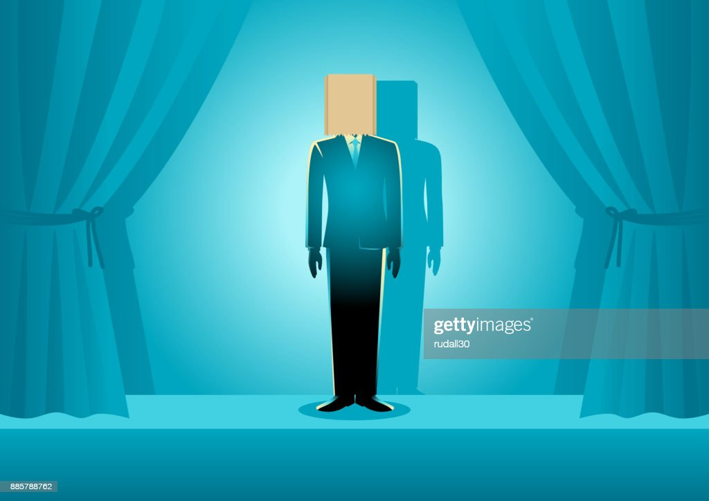 Paper Bag Head Businessman : stock illustration