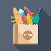 Paper bag with food flat illustration concept