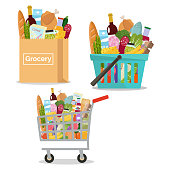 Paper bag with grocery. Paper package full of fresh products from grocery store. Shopping basket and cart with grocery