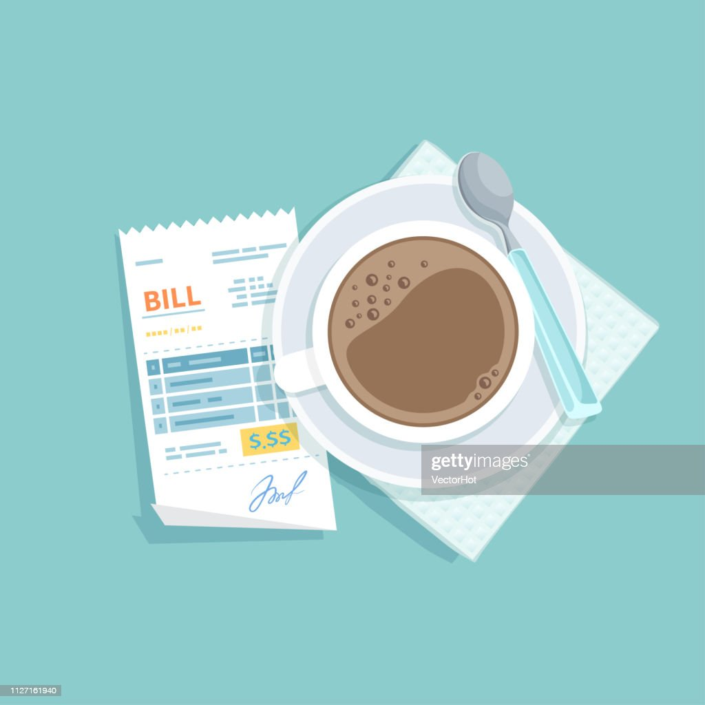 Paper bill for cup of coffee. Restaurant receipt paying. Customer's payment for cafe service. Cashier check, invoice, order. Money for goods and services. Vector