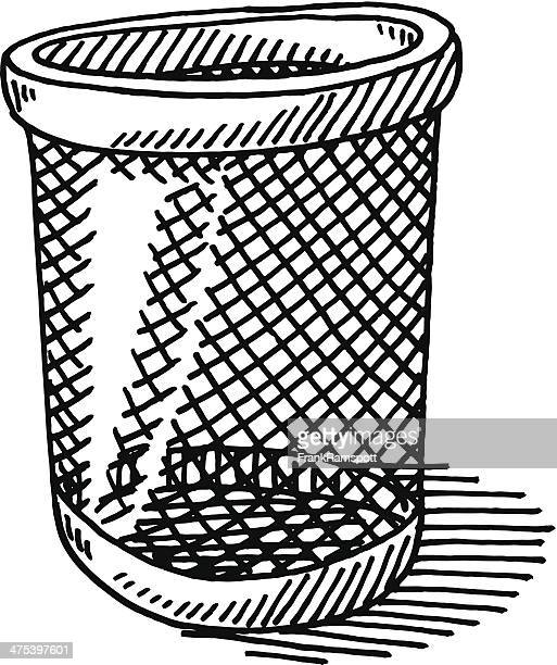 paper bin drawing - wastepaper basket stock illustrations, clip art, cartoons, & icons