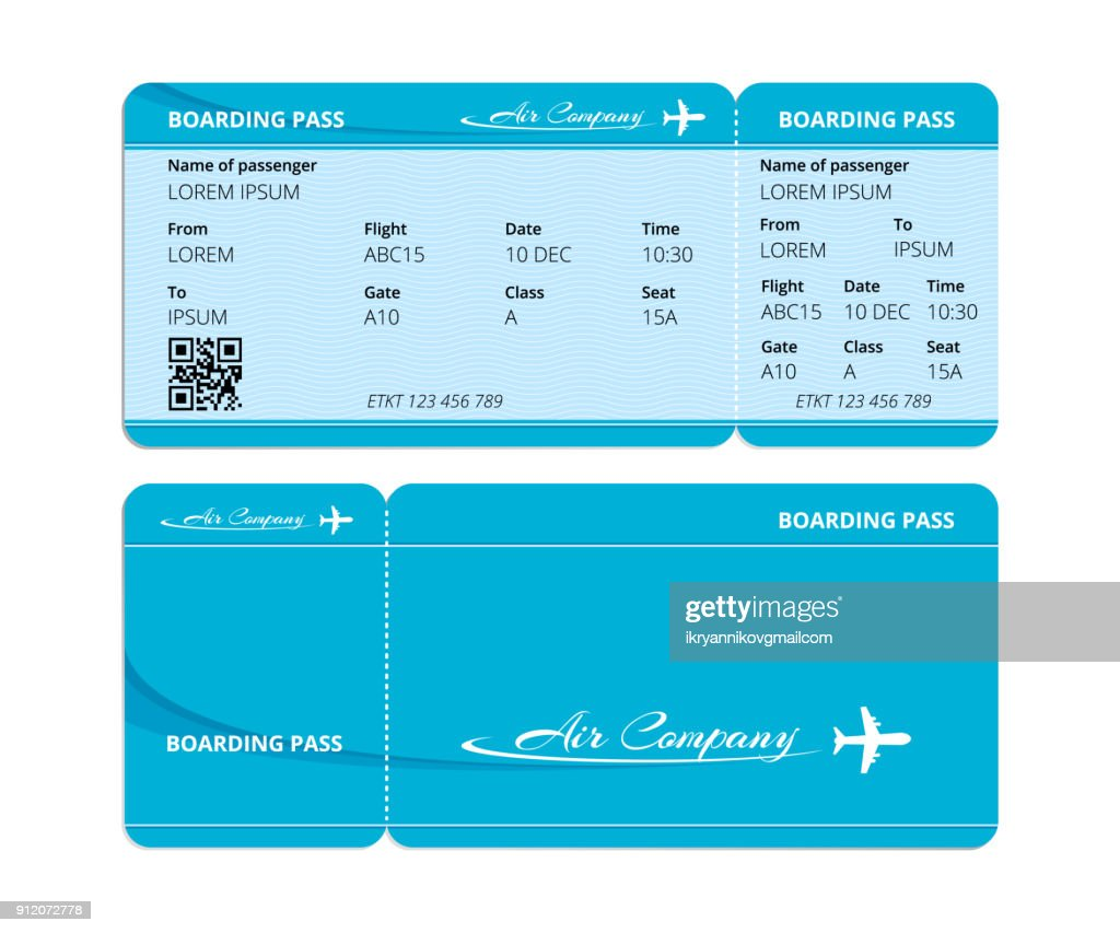 Paper blue boarding pass, ticket for checking travelers with data