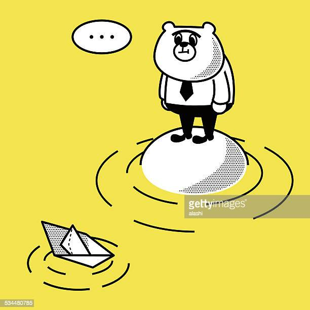 Paper Boat and Business Bear on an island