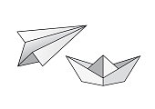 Paper boat and paper airplane vector