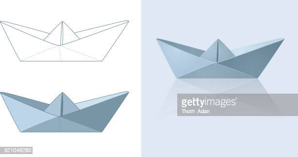 Paper boat in three different renderings