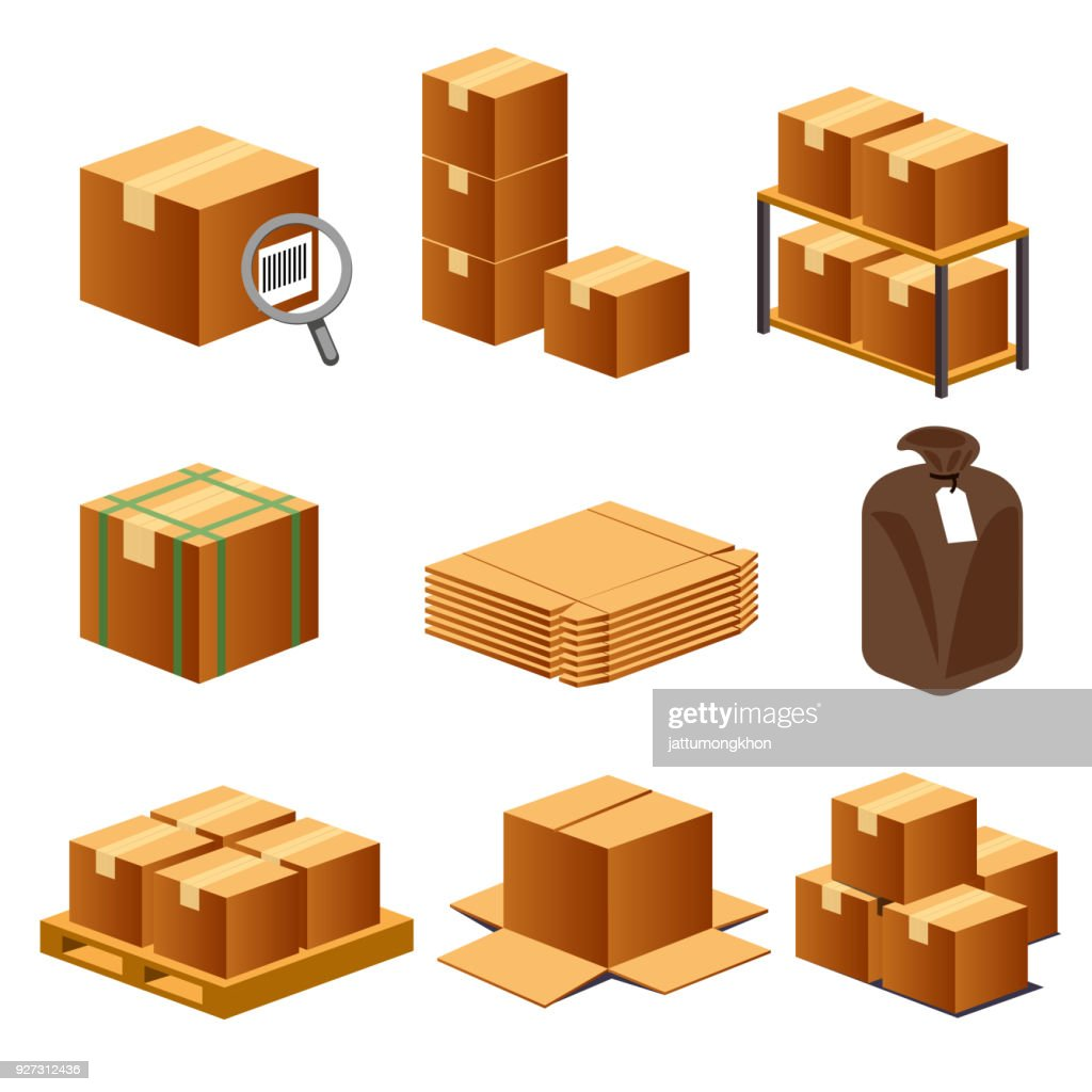 Paper box for logistics isometric view concept set 2. Element mapping transportation.