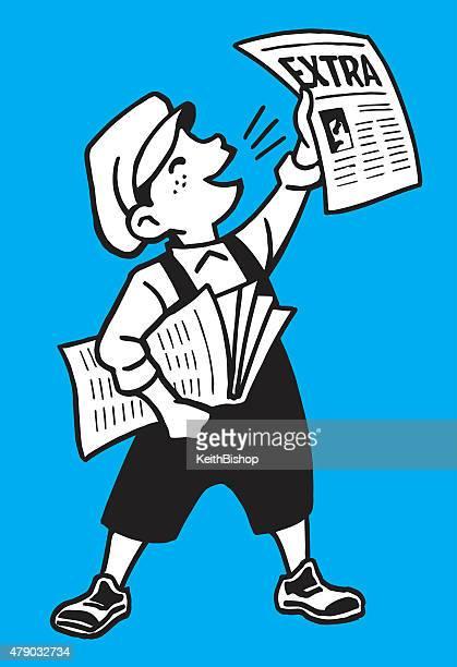 ilustrações, clipart, desenhos animados e ícones de garoto dos desenhos em papel-últimas notícias - entregador