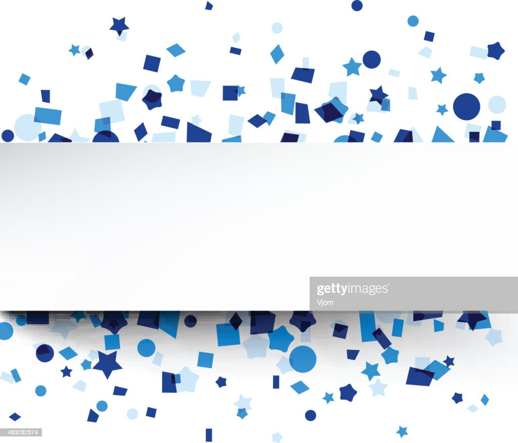 Paper card over blue confetti