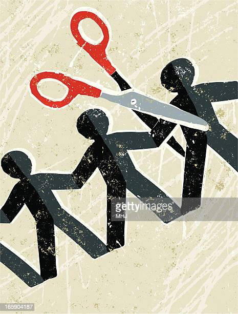 paper chain and scissors - downsizing unemployment stock illustrations, clip art, cartoons, & icons