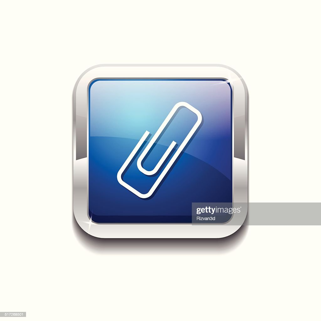 Paper Clip Blue Vector Icon Button