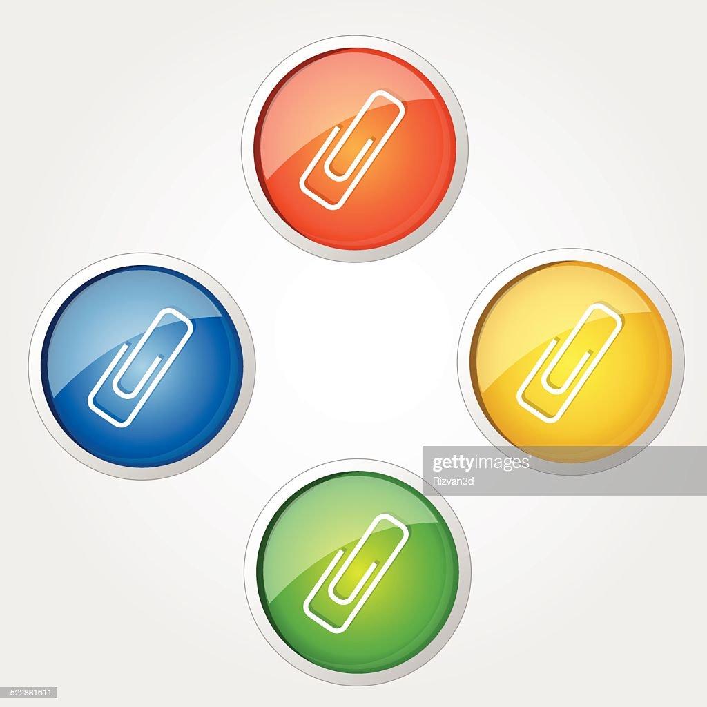 Paper Clip Colorful Vector Icon Design