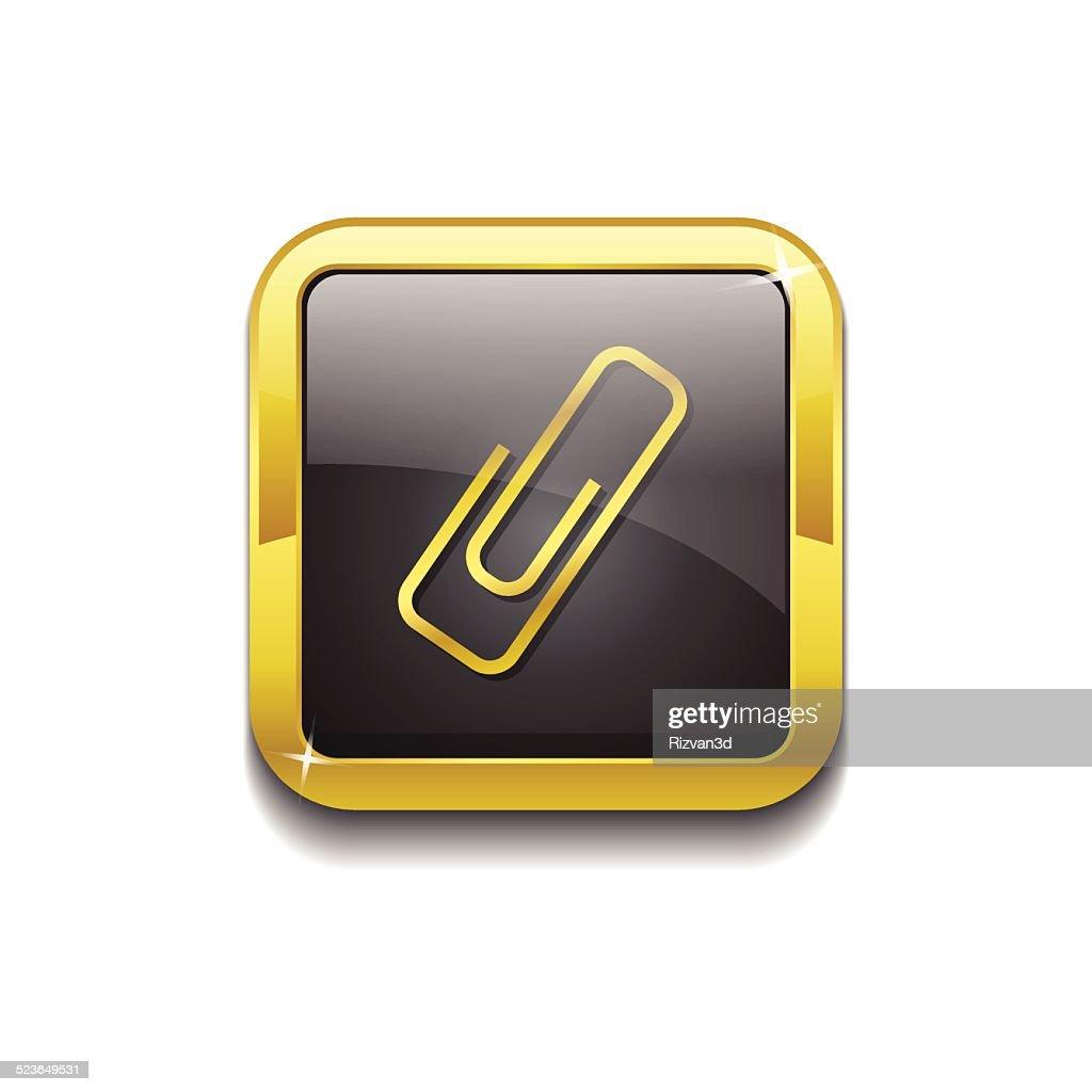 Paper Clip Gold Vector Icon Button