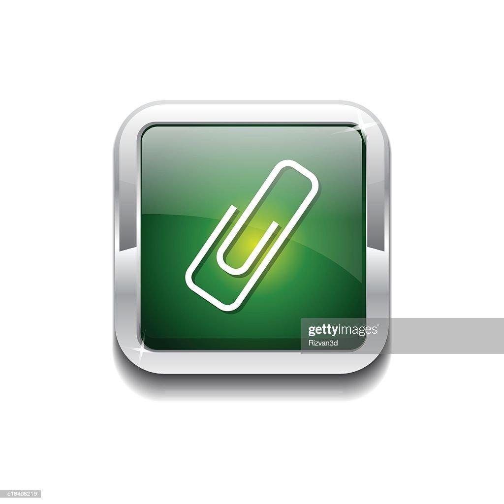 Paper Clip Green Vector Icon Button
