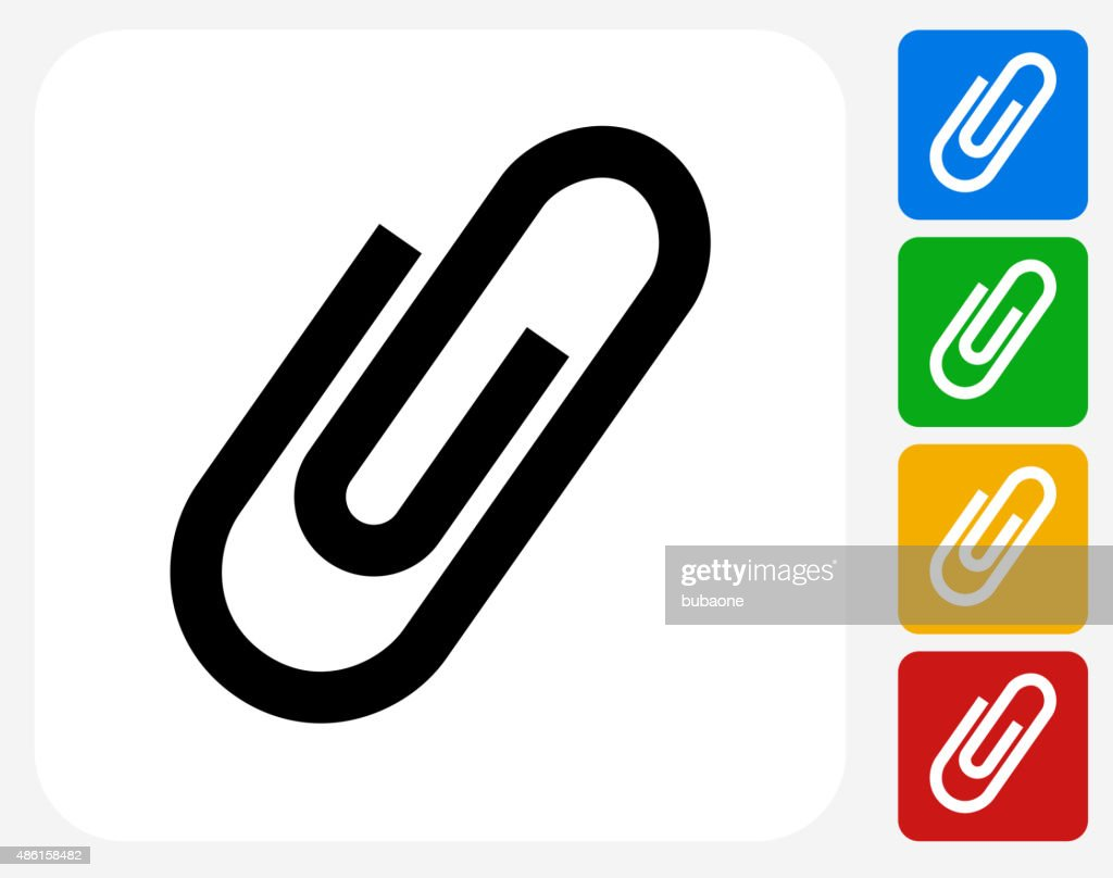 Paper Clip Icon Flat Graphic Design