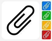 Paper Clip Icon Flat Graphic Design