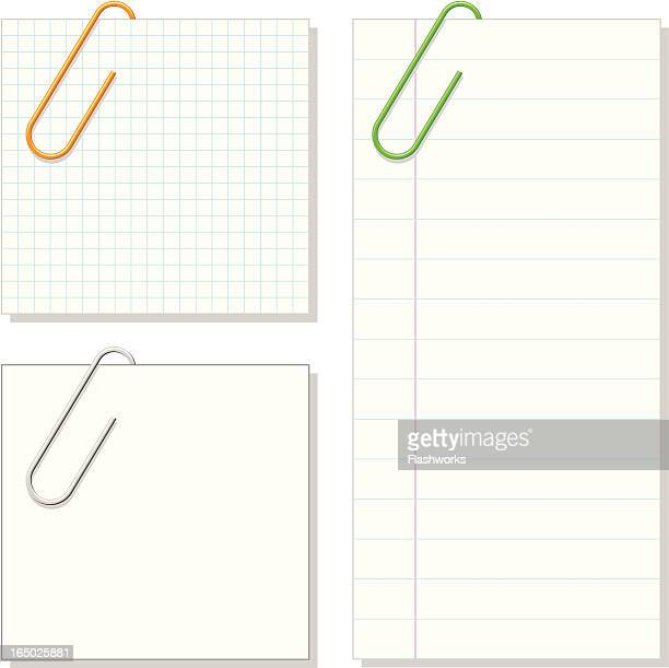 vector - paper clip & notepaper - paper clip stock illustrations, clip art, cartoons, & icons