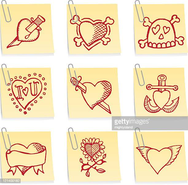 paper clip notes - ballpoint pen stock illustrations, clip art, cartoons, & icons