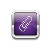 Paper Clip Purple Vector Icon Button