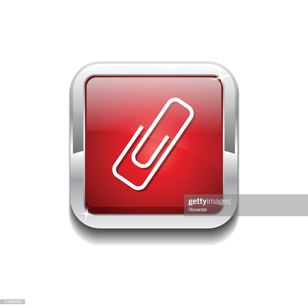 Paper Clip Red Vector Icon Button