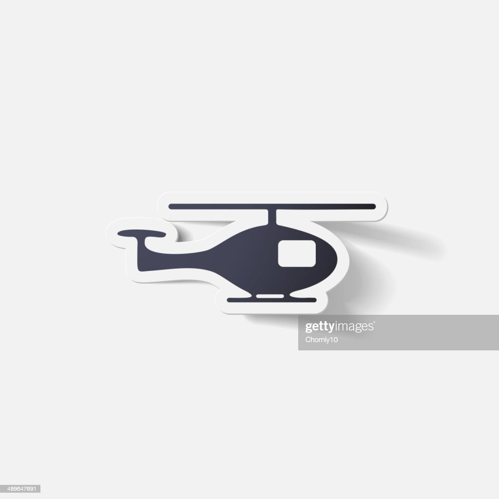 Paper clipped sticker: helicopter