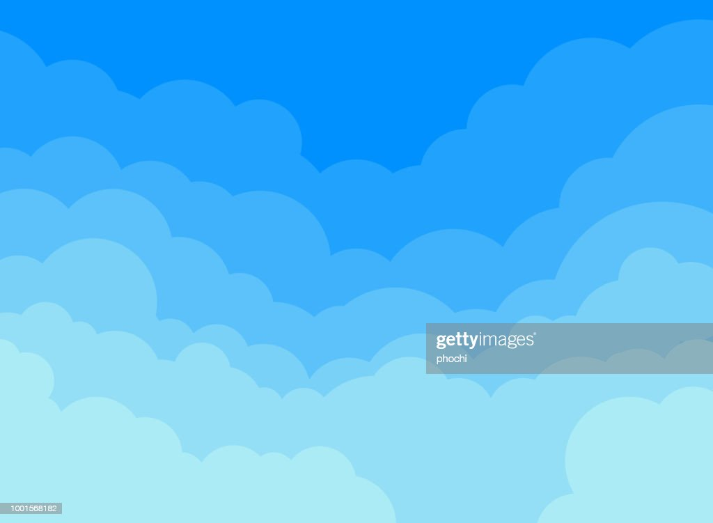 Paper clouds and blue sky background.